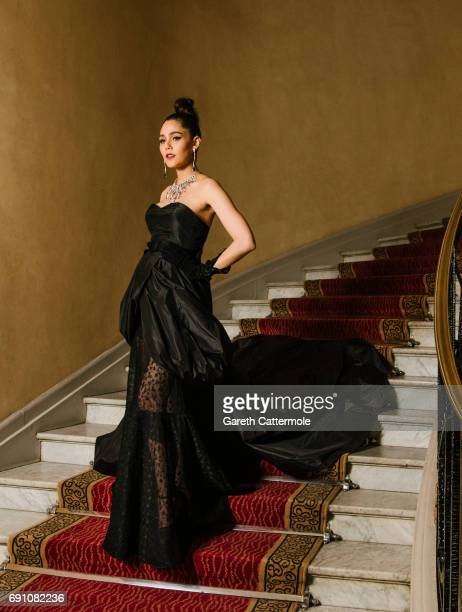 Araya Hargate departs the Martinez Hotel during the 70th annual Cannes Film Festival on May 18 2017 in Cannes France