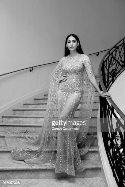 Araya Hargate departs the Martinez Hotel during the 71st annual Cannes Film Festival at on May 10 2018 in Cannes France