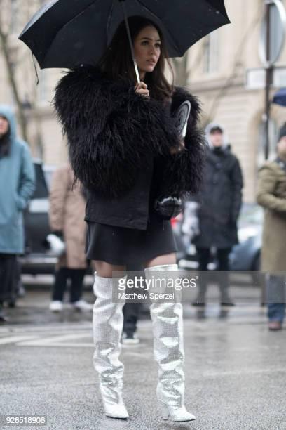 Araya Hargate is seen on the street attending Balmain during Paris Fashion Week Women's A/W 2018 Collection wearing Balmain on March 2 2018 in Paris...
