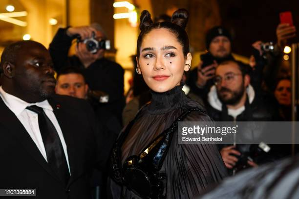 Araya Hargate is seen outside the JeanPaul Gaultier show during Paris Fashion Week Haute Couture Spring/Summer 2020 on January 22 2020 in Paris France