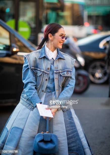 Araya Hargate is seen wearing denim jacket high waist denim skirt outside Schiaparelli during Paris Fashion Week Haute Couture Spring Summer 2019 on...