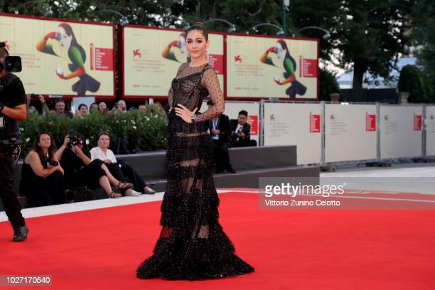 Araya Hargate walks the red carpet ahead of the '22 July' screening during the 75th Venice Film Festival at Sala Grande on September 5 2018 in Venice...