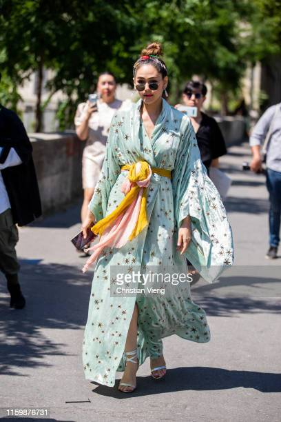 Araya Hartgate is seen outside Elie Saab during Paris Fashion Week Haute Couture Fall/Winter 2019/2020 on July 03 2019 in Paris France