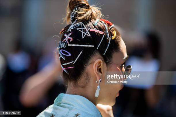 Araya Hartgate is seen wearing hair clips outside Elie Saab during Paris Fashion Week Haute Couture Fall/Winter 2019/2020 on July 03 2019 in Paris...