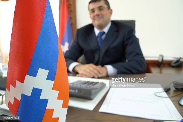 Arayik Haratyunyan, prime minister of Nagorno-Karabackh, the breakaway Armenian region of Azerbaijan. Nagorno-Karabakh's flag is the same as...