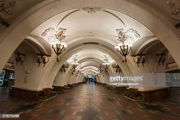 arbatskaya moscow metro station , russia - moscú fotografías e imágenes de stock
