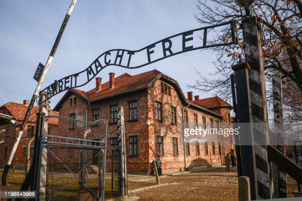 'Arbeit Macht Frei' entrance gate at the former Nazi German Auschwitz I concentration and extermination camp in Oswiecim, Poland on January 26, 2020....