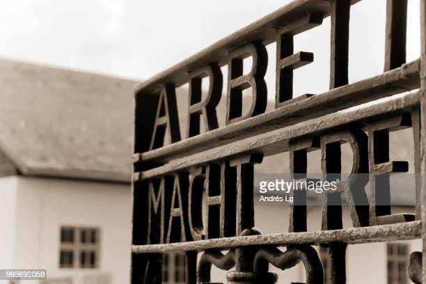 arbeit macht frei - holocaust stock pictures, royalty-free photos & images