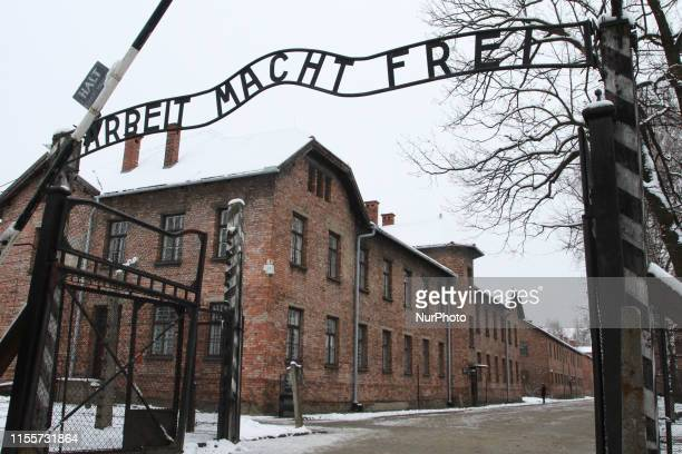 'Arbeit Macht Frei' sign at the former Nazi concentration camp Auschwitz in Oswiecim, Poland on 27 January 2015.