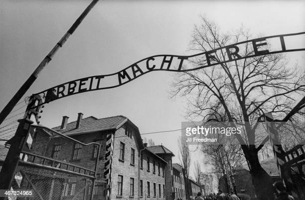 'Arbeit Macht Frei' the sign at the entrance to the concentration camp of AuschwitzBirkenau in Germanoccupied Poland circa 1993