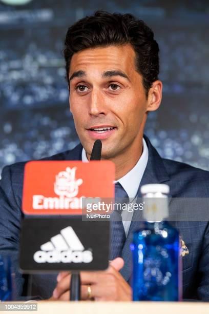 Arbeloa during press conference of presentation of Andriy Lunin as new Real Madrid goalkeeper at Santiago Bernabéu Stadium in Madrid Spain July 23...