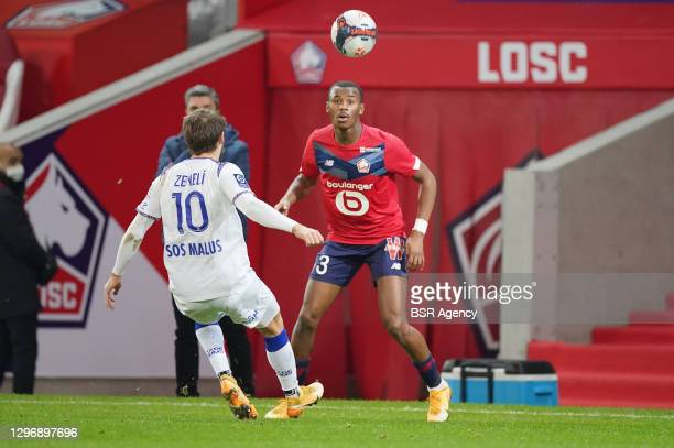 Arber Zeneli of Stade Reims, Tiago Djalo of Lille OSC during the Ligue 1 match between Lille OSC and Stade Reims at Stade Pierre Mauroy on January...