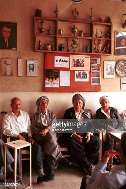Kurdish men sit in a teahouse on 5th October 2002 in Arbil northern Iraq