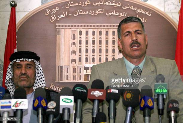 Representative of Shiite Turkmens in the Iraqi city of Kirkuk Salah al Bisheri speaks to the media as member of the Arab delegation to the Kurdish...