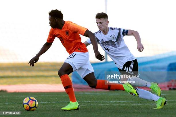 Arbnor Alit of Germany U16 challenges Noah Ohio of Netherlands U16 during UEFA Development Tournament match between U16 Netherlands and U16 Germany...