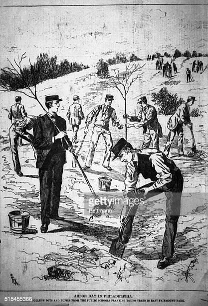 Arbor day in Philadelphia Girard College boys planting trees in East Fairmont Park