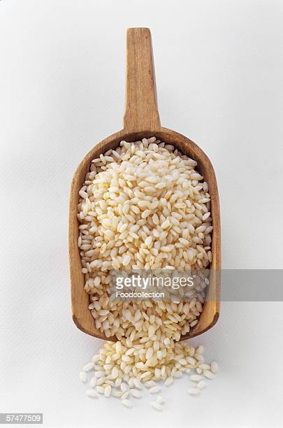 Arborio Rice in a Wooden Scoop