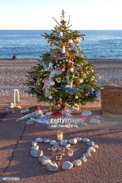 Arbre de Noel sur la Promenade des Anglais 28 décembre 2016 en hommage à un enfant victime de l'attentat du 14 Juillet 2016 à Nice