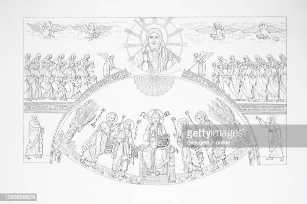 Arc de Triomphe and altar in St. Paul's basilica in Rome, Italy, / Arc de Triomphe und Altar in der St Paul Basilika in Rom, Italien, Historisch,...