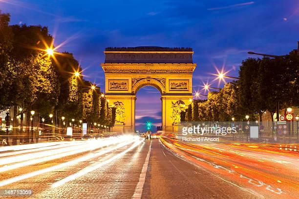 Arc de Triomphe and Avenue des Champs-Elysees.