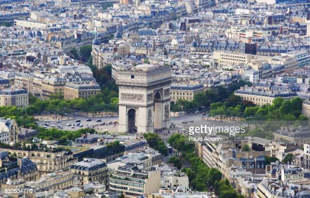 Arc de Triomphe and Champs Elysees in Paris