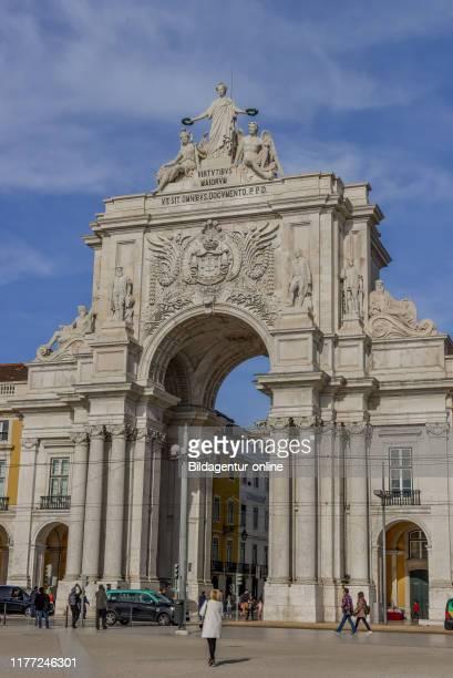Arc De Triomphe 'Arco da Rua Augusta, Praca do Comercio', Lisbon, Portugal, Triumphbogen «Arco da Rua Augusta«, Praca do Comercio, Lissabon.