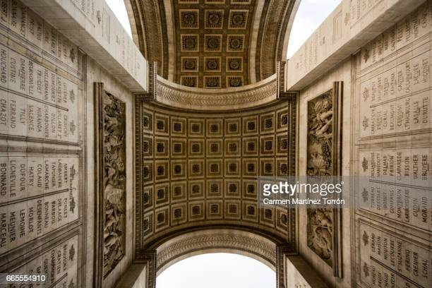 arc de triomphe detail - champs elysees quarter stock pictures, royalty-free photos & images