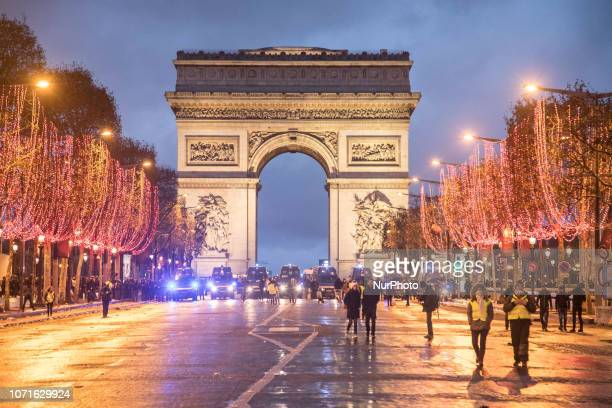 Arc de Triomphe during the Yellow Vest demonstration with strong police force Clashes and vandalism which have resulted in thousands of arrests...