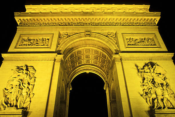 Arc de Triomphe, illuminated at night, Paris