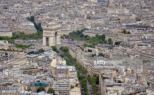 arc de triomphe in paris - place charles de gaulle paris stock photos and pictures