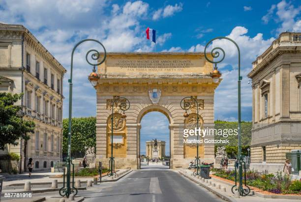 arc de triomphe montpellier - montpellier stock pictures, royalty-free photos & images