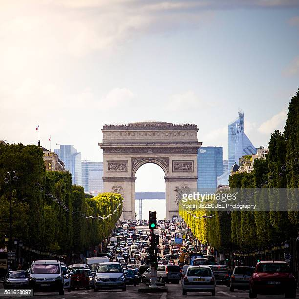 arc de triomphe on the champs elysées - place charles de gaulle paris stock photos and pictures