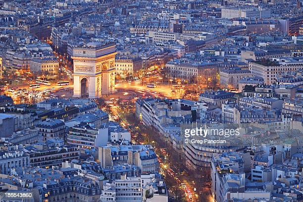 arc de triomphe - paris - place charles de gaulle paris stock photos and pictures