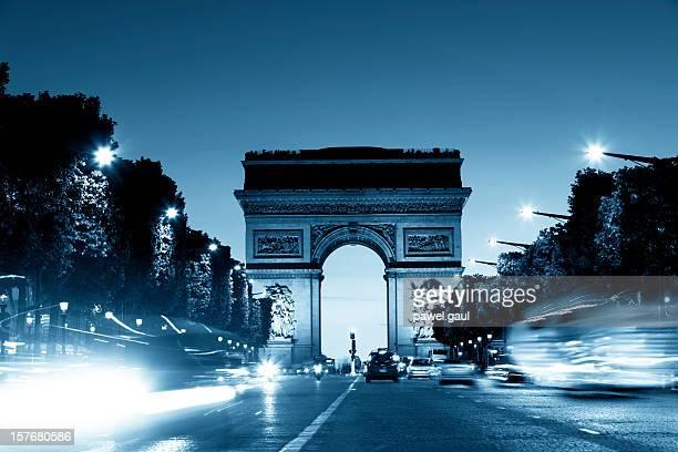 arc de triomphe - avenue des champs elysees stock photos and pictures