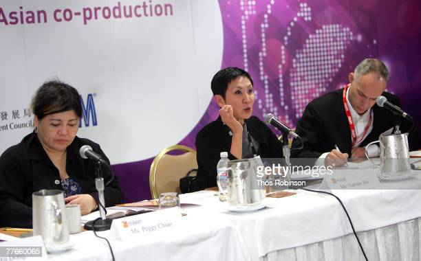 Arc Light Films producer Peggy Chiao Film Workshop Co Ltd executive producer Nansun Shi and moderator Patrick Frater speak during the panel...