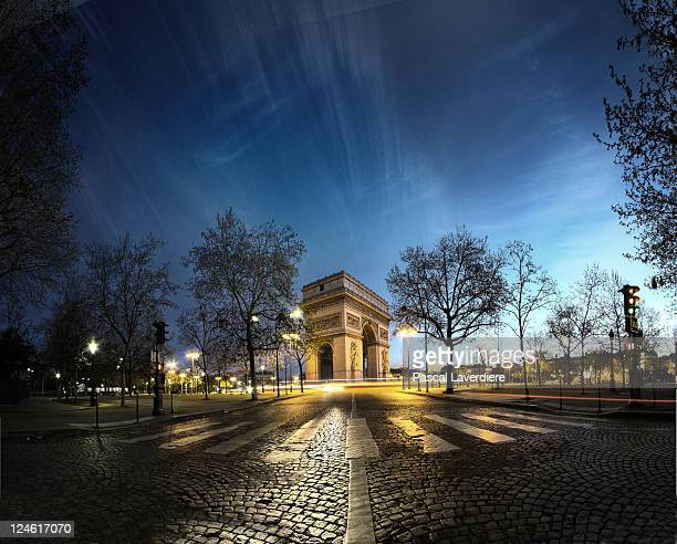 arc of triumph - place charles de gaulle paris stock photos and pictures