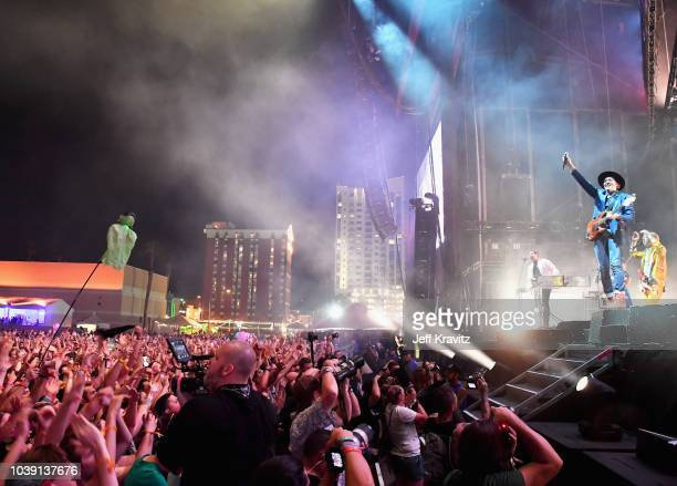 Arcade Fire performs on Downtown Stage during the 2018 Life Is Beautiful Festival on September 23 2018 in Las Vegas Nevada