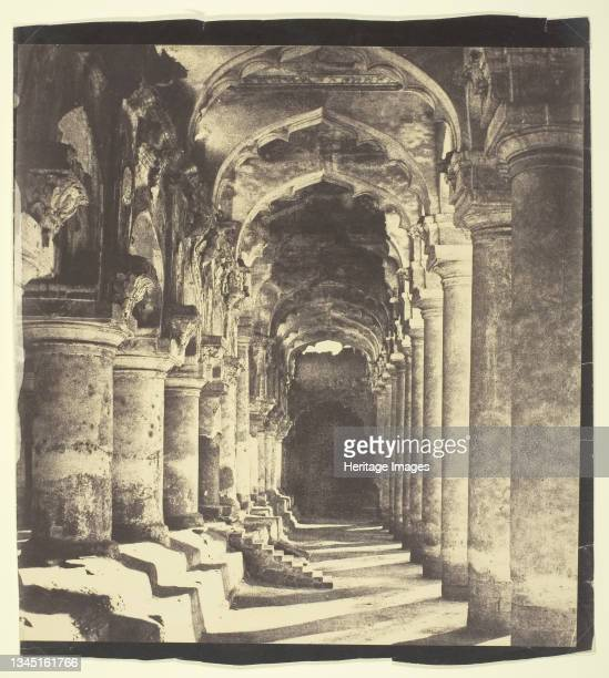 Arcade in Quadrangle, 1858. [The Palace of Trimul Naik in what is now Madurai, south India]. Salted paper print or diluted albumen print from...