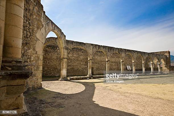 arcade of a church, cuilapan monastery, oaxaca, oaxaca state, mexico - cuilapan stock photos and pictures