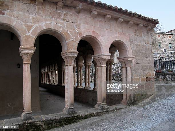 Arcaded gallery that covers the atrium of the romanesque church of San Salvador in the village of Carabias close to Sigüenza this church that was...