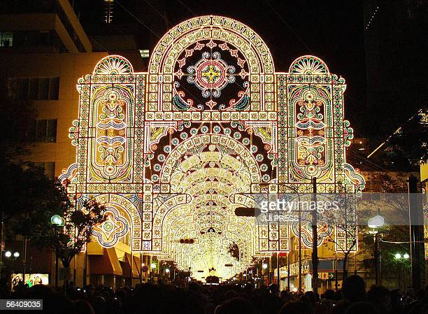Arcaded shopping street is lighted up with some 200000 electric bulbs called 'Kobe Luminarie' at Kobe city western Japan 09 December 2005 The annual...