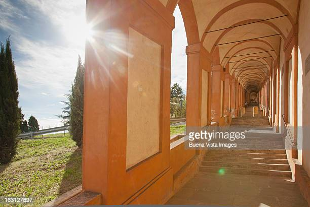 Arcades to the San Luca Basilica of Bologna.