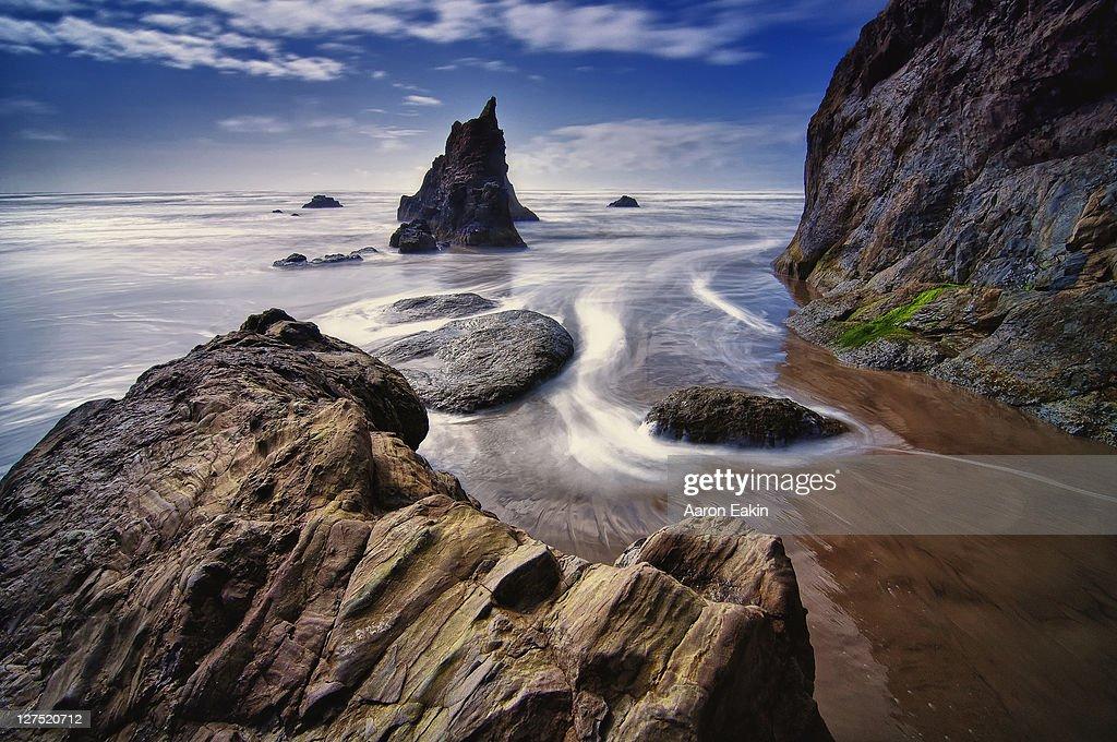 Arcadia Beach On Northern Oregon Coast Stock Photo