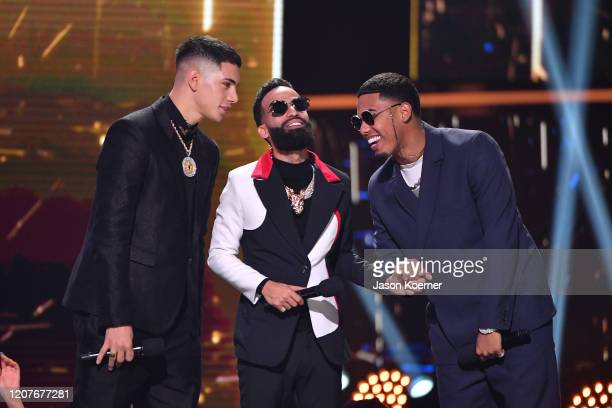 Arcangel and Mike Towers on stage during Univision's Premio Lo Nuestro 2020 at AmericanAirlines Arena on February 20 2020 in Miami Florida