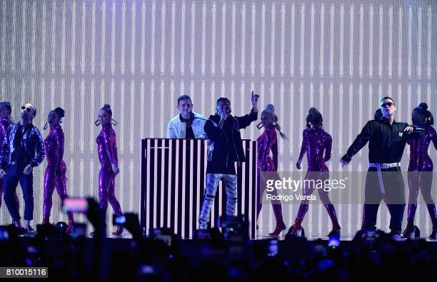 Arcangel Ozuna and J Balvin perform on stage during Univision's 'Premios Juventud' 2017 Celebrates The Hottest Musical Artists And Young Latinos...