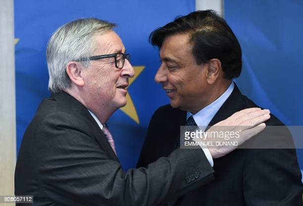 ArcelorMittal Chairman and CEO Lakshmi Mittal is welcomed by European Commission President JeanClaude Juncker at the European Commission in Brussels...