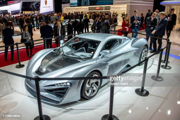 Arcfox GT is displayed during the second press day at the 89th Geneva International Motor Show on March 6, 2019 in Geneva, Switzerland.