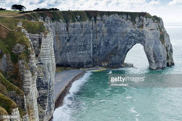 Arch and cliff along the coast, Normandy, France
