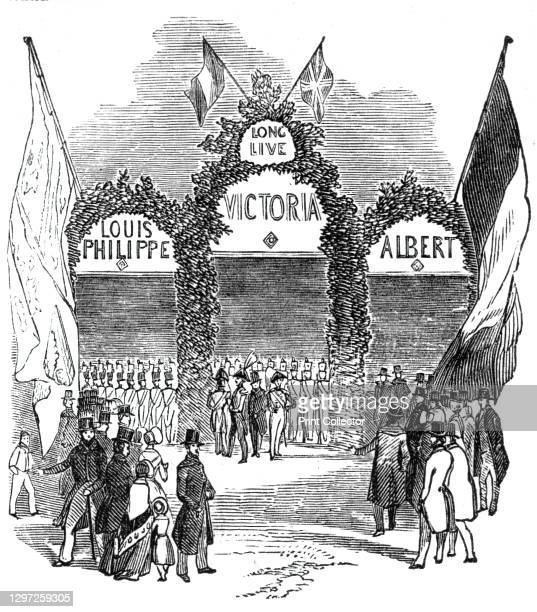 Arch at the Railway Station, Gosport, 1844. Visit of the French king Louis Philippe to Britain. Floral arch in honour of Louis Philippe, Queen...