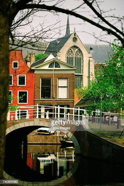 Arch bridge across a canal, Leiden, Netherlands